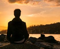 ガネーシャとガンジス川の夕日